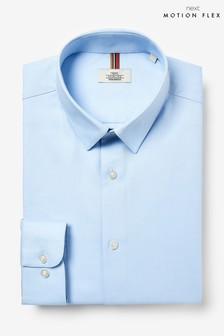Light Blue Slim Fit Single Cuff Cotton Stretch Motion Flex Shirt