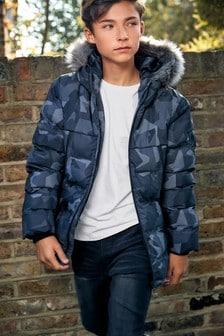 Grey Camo Faux Fur Trim Padded Jacket (3-16yrs)
