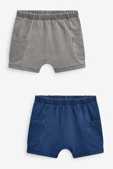 Blue/Grey 2 Pack Denim Shorts (0mths-2yrs)