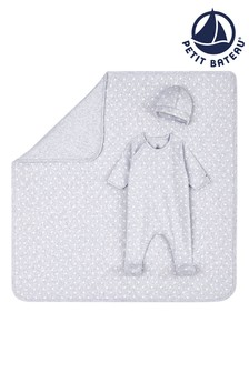 Petit Bateau Grey Stars Sleepsuit, Blanket And Hat Set