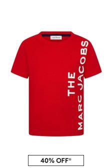 Boys Red Cotton Logo Print T-Shirt