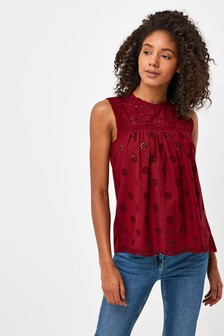 Berry Broderie Sleeveless Top