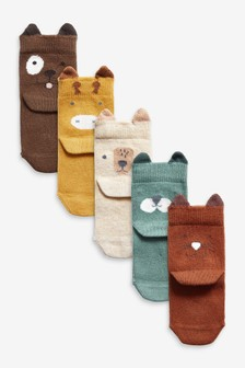 Rust 5 Pack Character Face Socks (Younger)