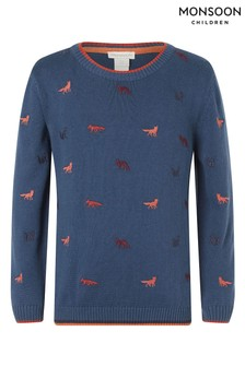 Monsoon Blue Fox Embroidered Organic Cotton Knitted Jumper