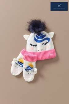 Crew Clothing Company Cream Unicorn Hat And Gloves Set