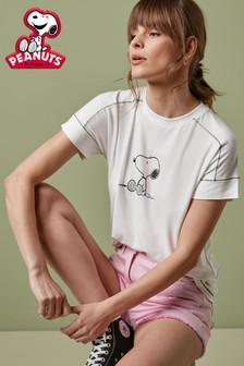 White Licence Snoopy Graphic T-Shirt