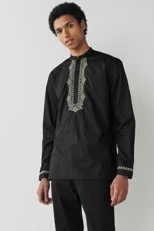 Black Embroidered Regular Length Kurta