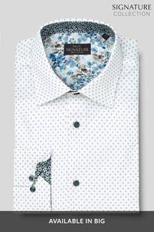 White Textured Printed Regular Fit Single Cuff Signature Shirt With Trim Detail