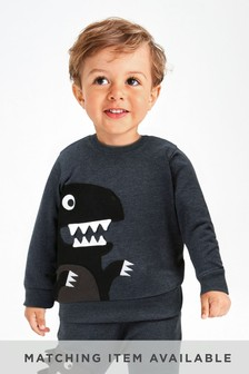 Blue Marl Crew Monster Appliqué (3mths-7yrs)