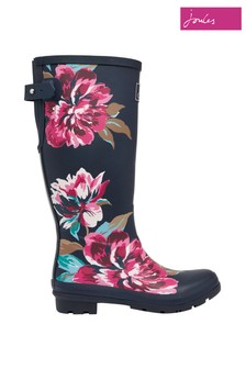 Joules Blue Print Wellies with Adjustable Back Gusset