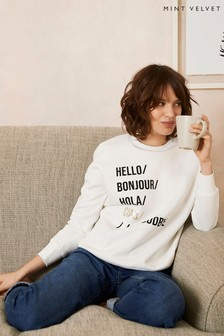 Mint Velvet Off-White Hello Sweatshirt