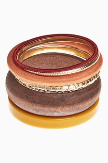 Multi Resin/Wooden Bangle Set