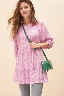 Pink Ditsy Textured Tiered Tunic
