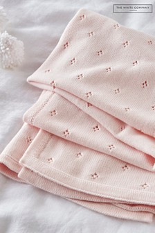 The White Company Pink Classic Pointelle Blanket