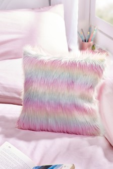 Rainbow Ombre Faux Fur Cushion
