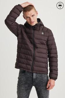Burgundy Shower Resistant Hooded Padded Jacket