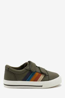 Khaki Stripe Strap Touch Fastening Shoes (Younger)