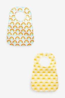Yellow 2 Pack Sunshine And Rainbow PU Bibs