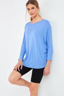 Pale Blue Viscose Dolman Sleeve Top