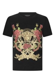 Girls Black Cotton Crest T-Shirt