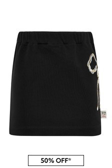 Girls Black Cotton Skirt