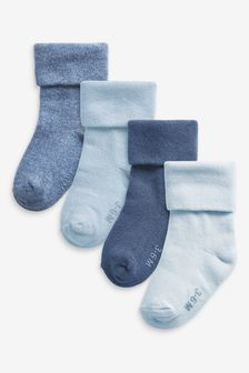Blue 4 Pack Roll Top Socks (Younger)