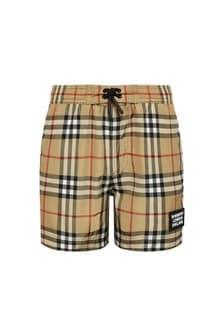 Burberry Kids Boys Beige Swim Shorts
