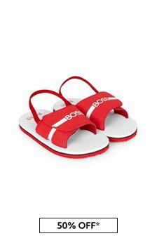 BOSS Boys Red Sandals