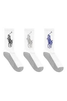 Kids White Big Pony Socks Three Pack