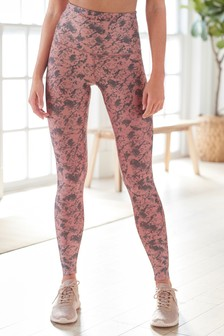 Pink Marble High Waist Sculpting 7/8 Sports Leggings