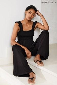 Mint Velvet Black Ruffled Jersey Jumpsuit