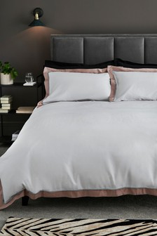300 Thread Count Cotton Sateen Border Duvet Cover And Pillowcase Set