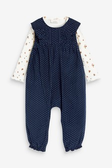 Navy Spot Corded Dungarees With Floral Bodysuit (0mths-2yrs)
