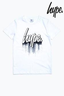 Hype. White Drips Script Kids T-Shirt