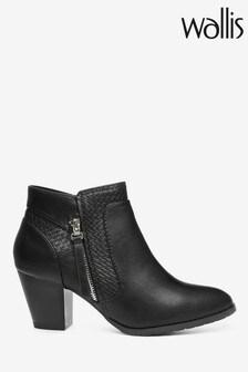 Wallis Aurora Black Side Zip Casual Mix Boots