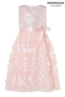 Monsoon Pink Ivy Jacquard Petal Dress