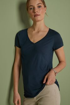 Navy Slouch V-Neck T-Shirt