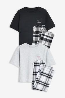 Monochrome 2 Pack Check Bottom Pyjamas (3-16yrs)