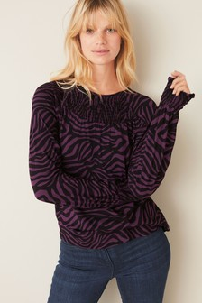Berry Zebra Smock Top
