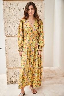 Floral Volume Sleeve Midi Dress