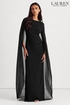 Lauren Ralph Lauren® Black Caped Hopelee Evening Maxi Dress