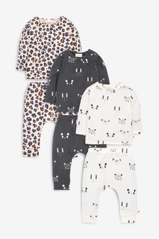 Monochrome 6 Piece Character/Leopard Print Top And Leggings Set (0mths-2yrs)