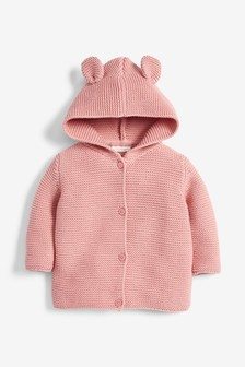 Pink Hooded Ear Cardigan (0mths-3yrs)