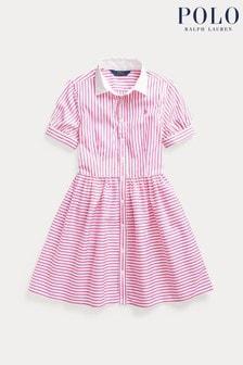 Ralph Lauren Pink/White Stripe Logo Shirt Dress