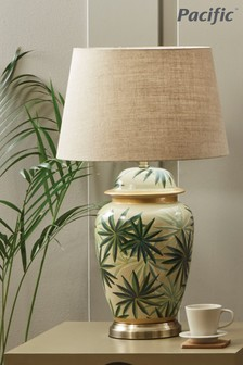 Curacao Palm Leaf Design Ceramic Urn Table Lamp by Pacific Lifestyle