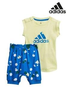 adidas Infant Green/Blue T-Shirt And Short Set