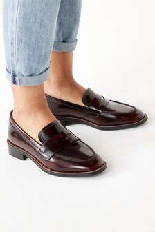 Berry Leather Almond Toe Loafers