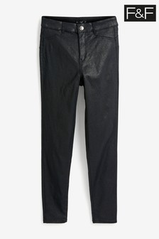 F&F Black Push Up Coated Glitter Jeans