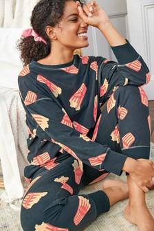 Navy Popcorn Cosy Pyjamas With Scrunchie