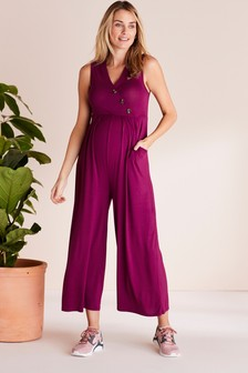 Berry Maternity Button Front Jumpsuit